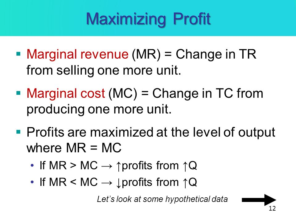 Maximizing Profit Marginal revenue (MR) = Change in TR from selling one more unit. Marginal cost (MC) = Change in TC from producing one more unit.