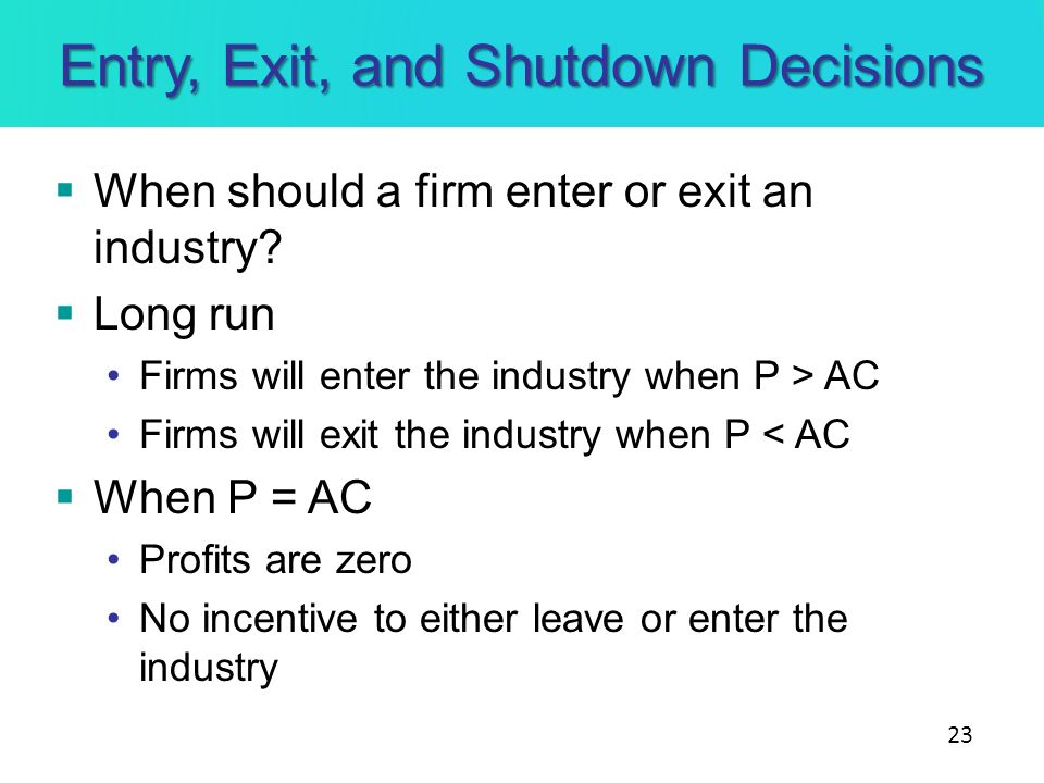 Entry, Exit, and Shutdown Decisions
