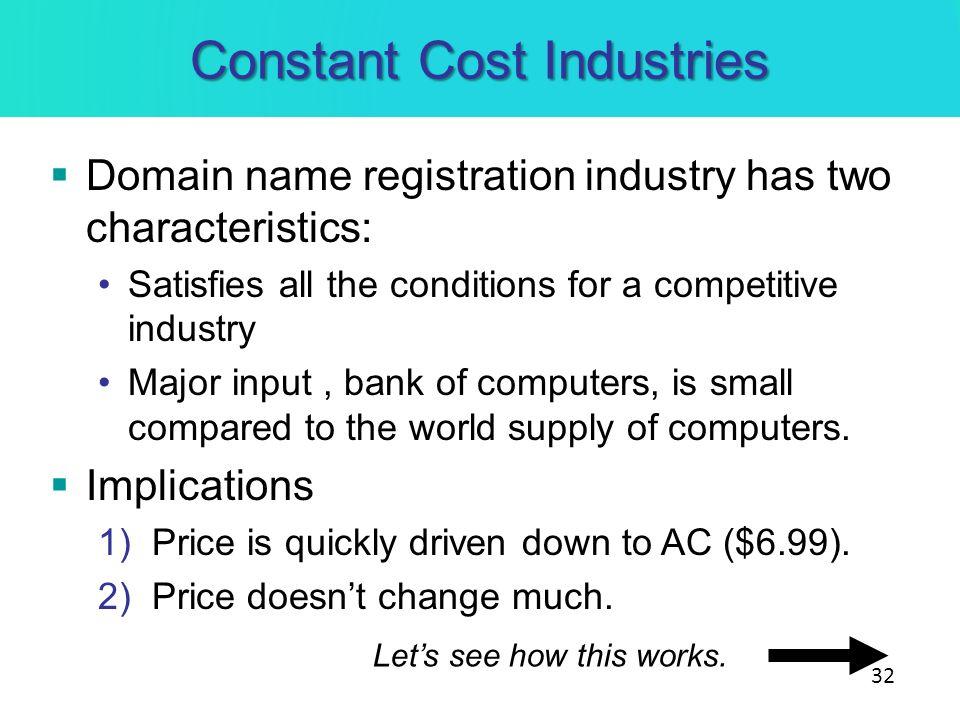 Constant Cost Industries