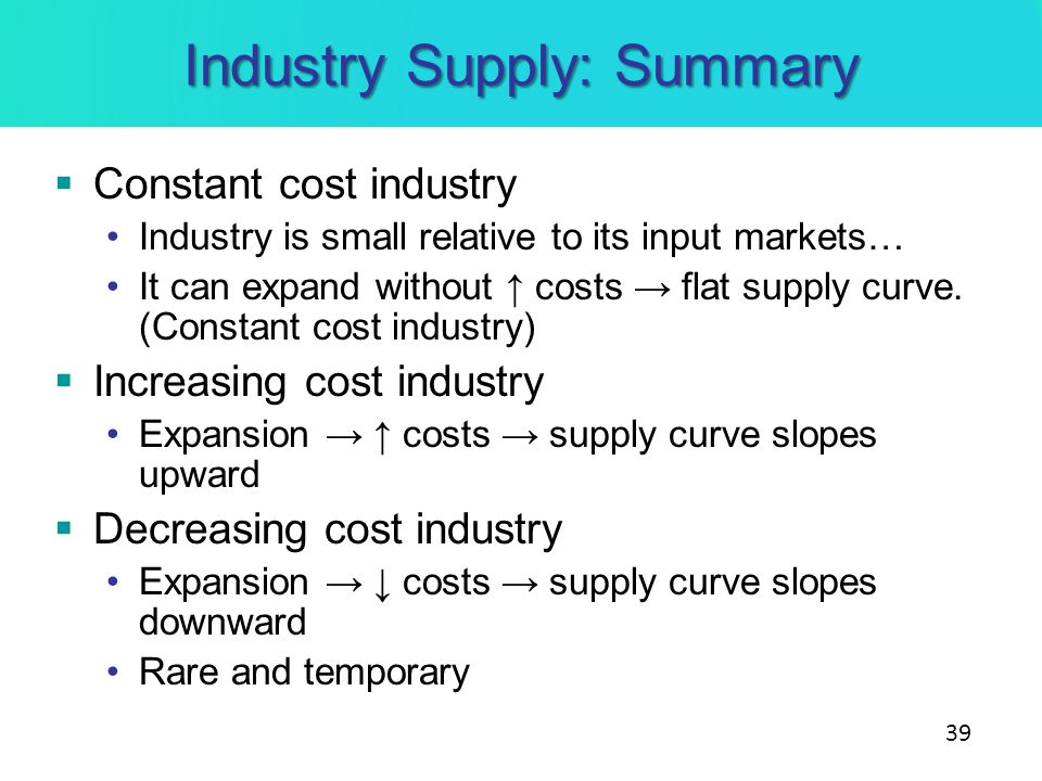 Industry Supply: Summary