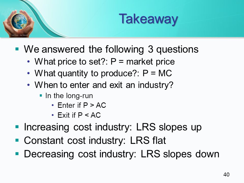 Takeaway We answered the following 3 questions