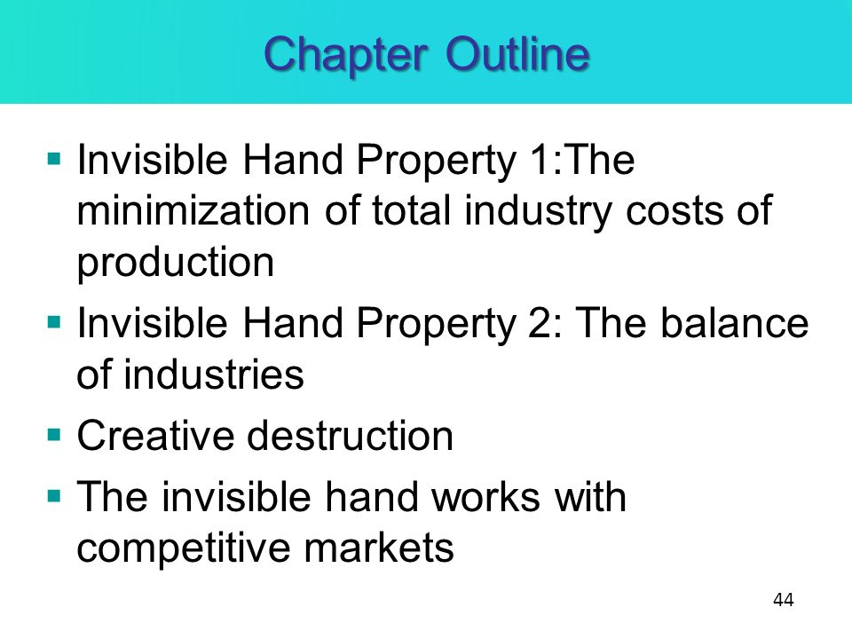 Chapter Outline Invisible Hand Property 1:The minimization of total industry costs of production.