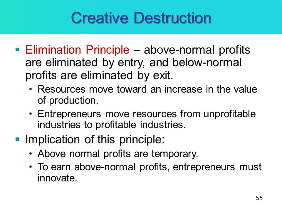 Creative Destruction Elimination Principle – above-normal profits are eliminated by entry, and below-normal profits are eliminated by exit.