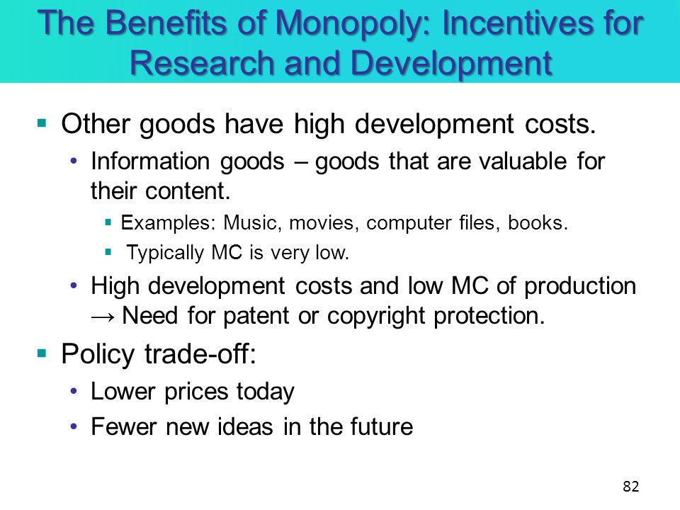 The Benefits of Monopoly: Incentives for Research and Development