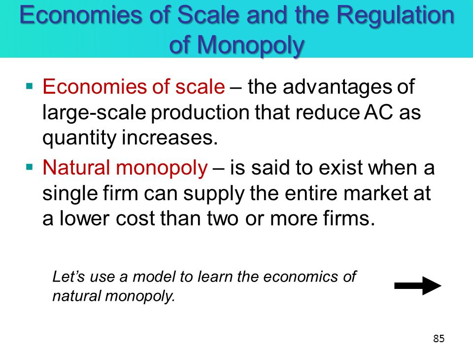Economies of Scale and the Regulation of Monopoly