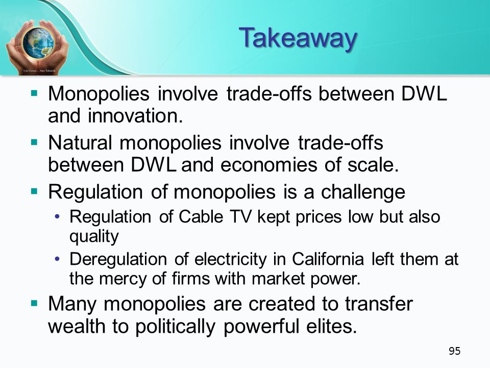Takeaway Monopolies involve trade-offs between DWL and innovation.