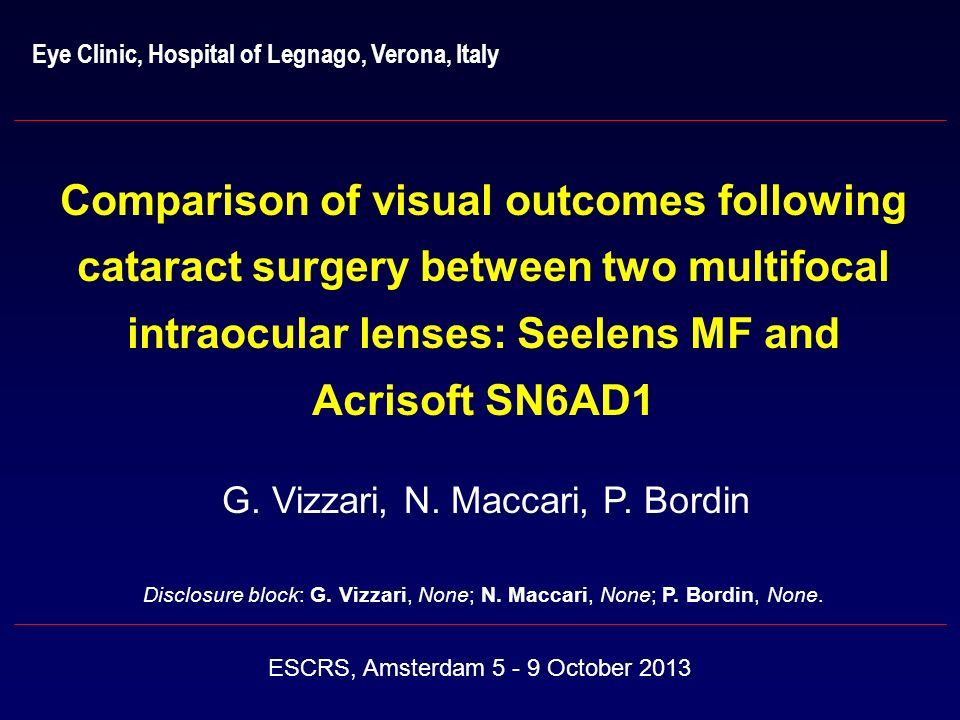 Eye Clinic, Hospital of Legnago, Verona, Italy