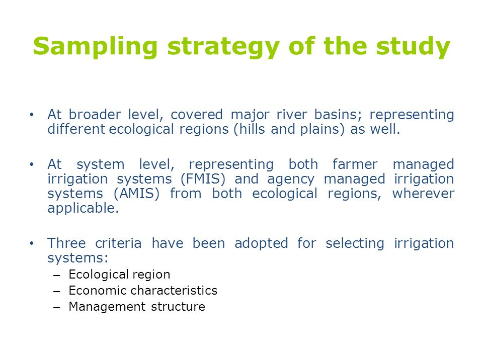 Sampling strategy of the study