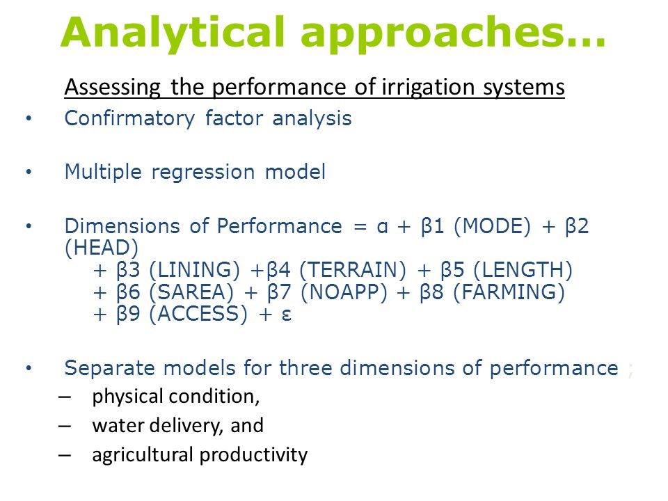 Analytical approaches…