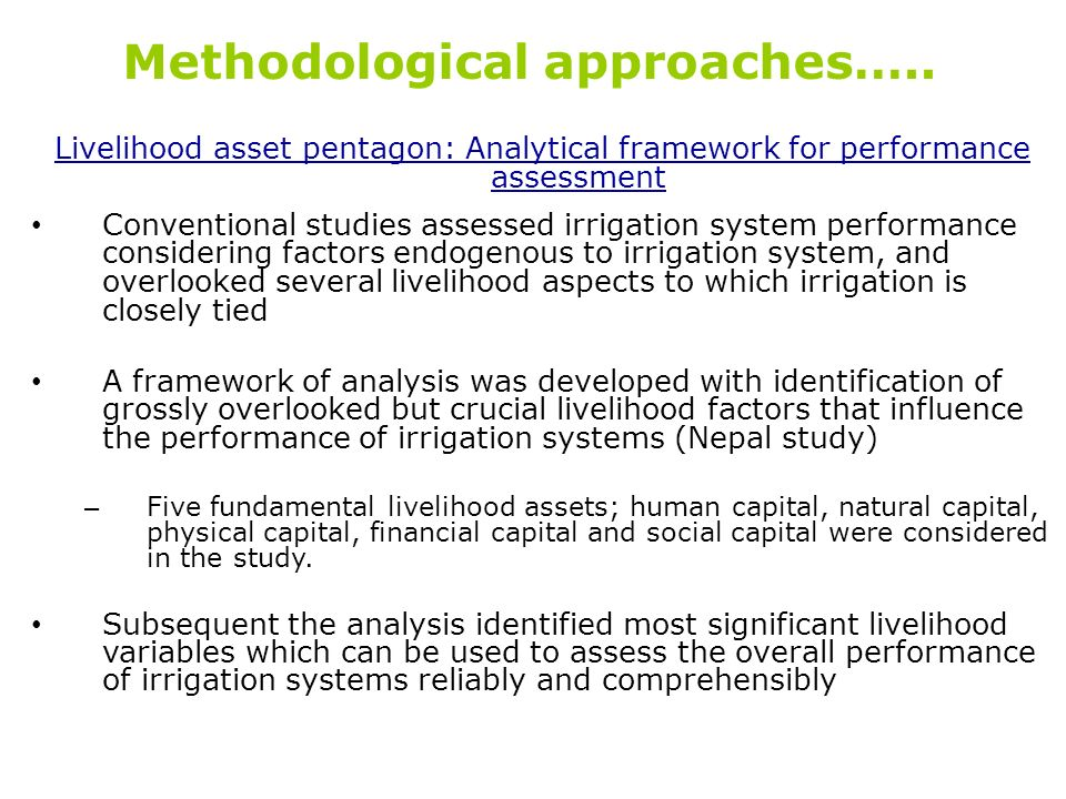 Methodological approaches…..