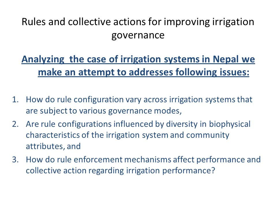 Rules and collective actions for improving irrigation governance