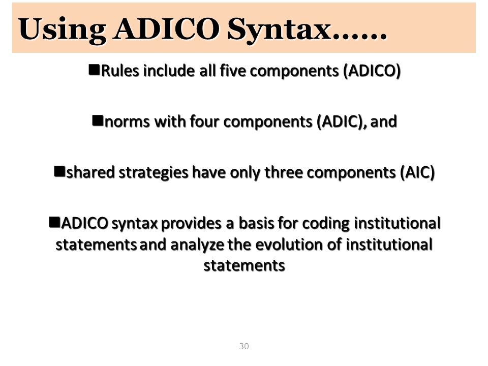 Using ADICO Syntax…… Rules include all five components (ADICO)