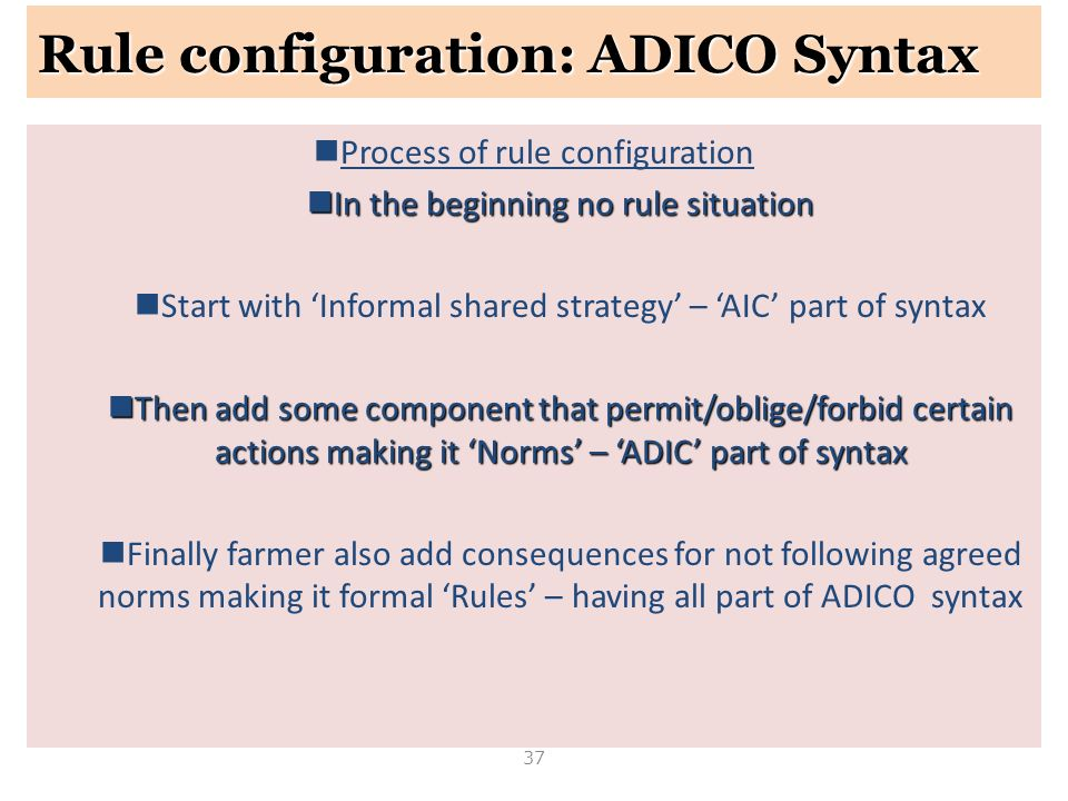 Rule configuration: ADICO Syntax