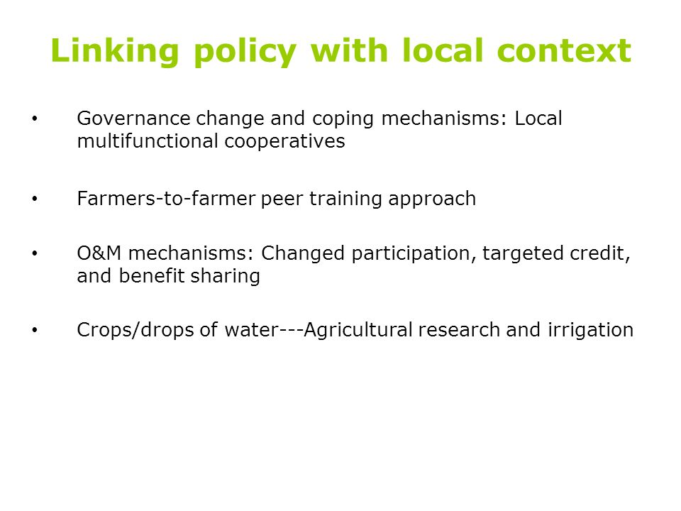 Linking policy with local context