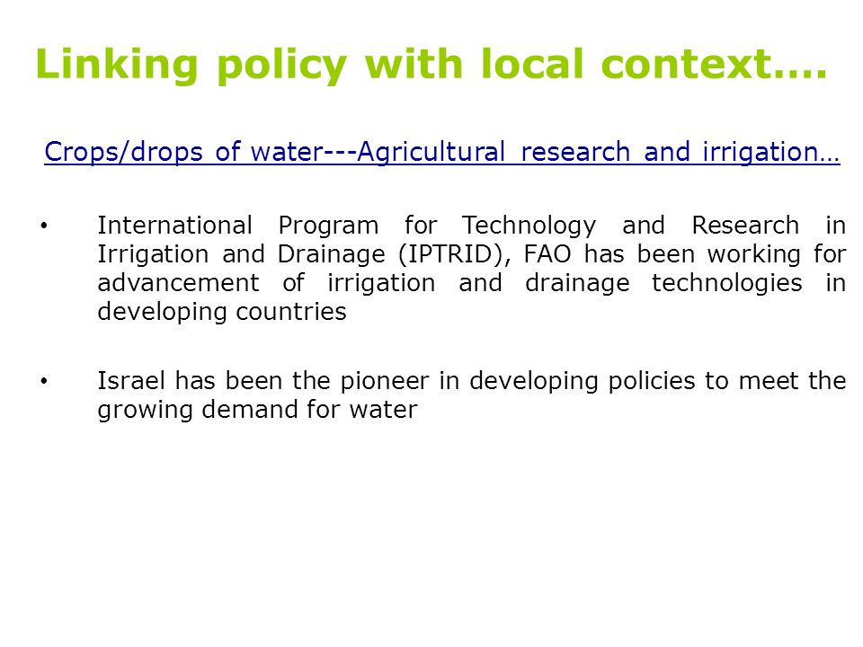Linking policy with local context….