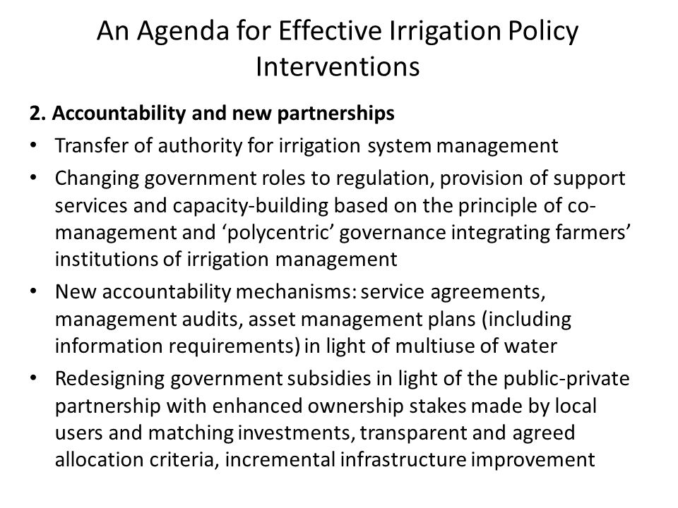An Agenda for Effective Irrigation Policy Interventions