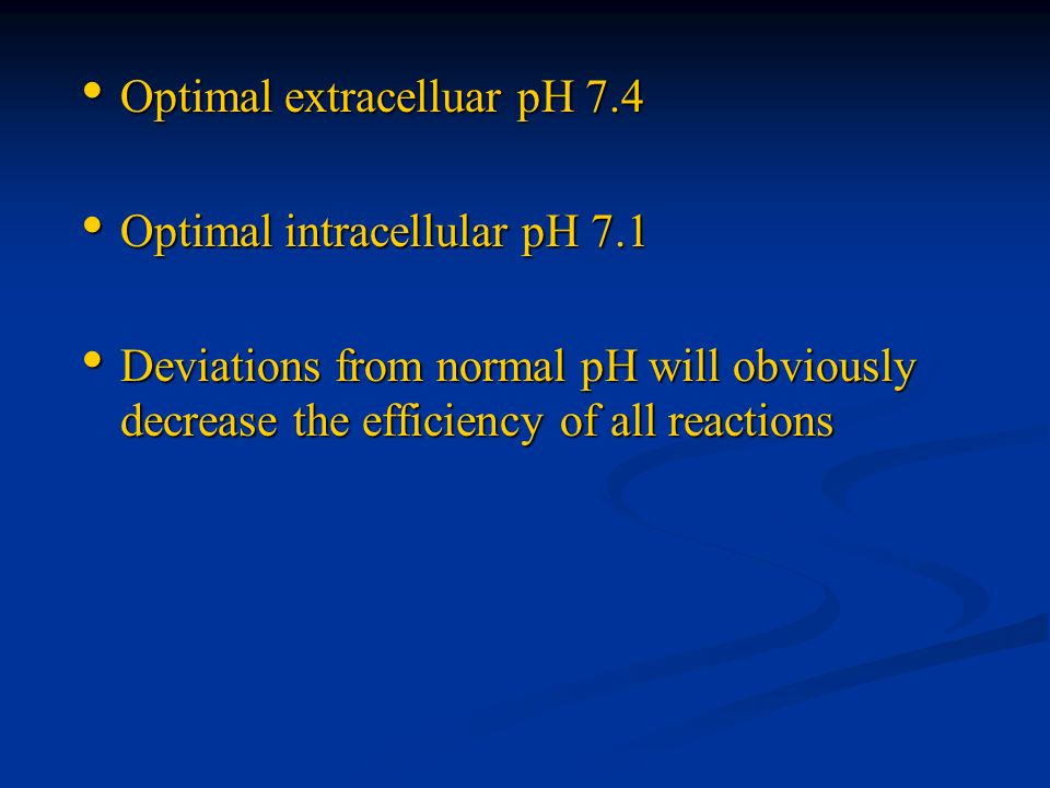 Optimal extracelluar pH 7.4