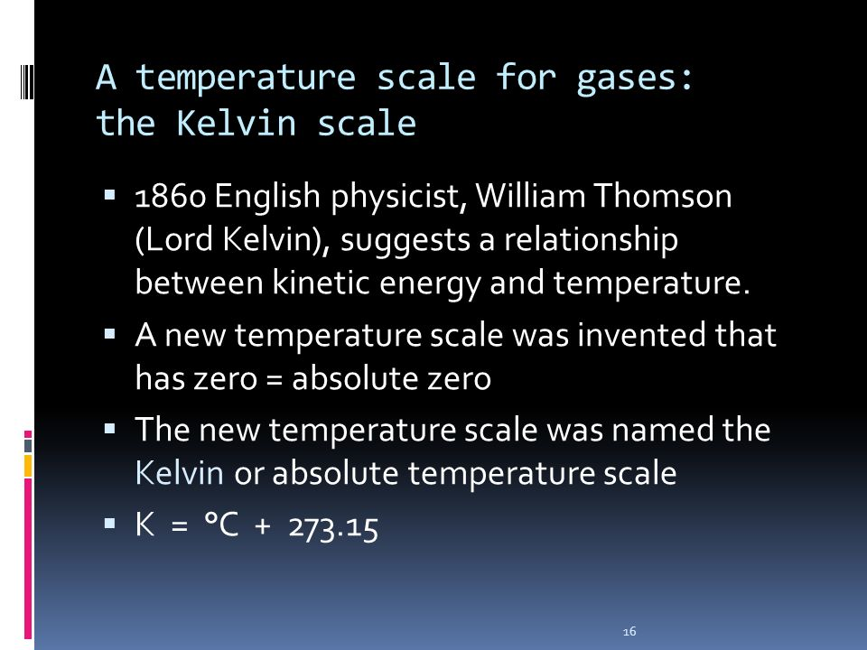 A temperature scale for gases: the Kelvin scale