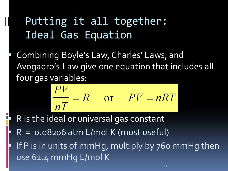 Putting it all together: Ideal Gas Equation