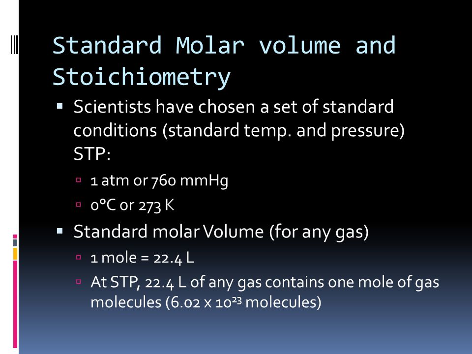 Standard Molar volume and Stoichiometry
