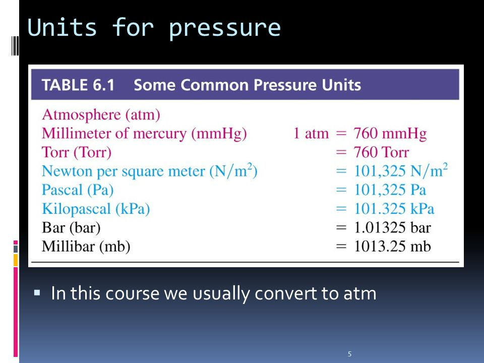 Units for pressure In this course we usually convert to atm