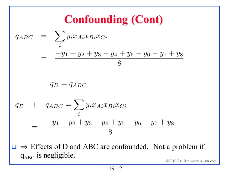 Confounding (Cont) ) Effects of D and ABC are confounded. Not a problem if qABC is negligible.