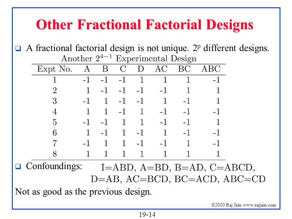 Other Fractional Factorial Designs
