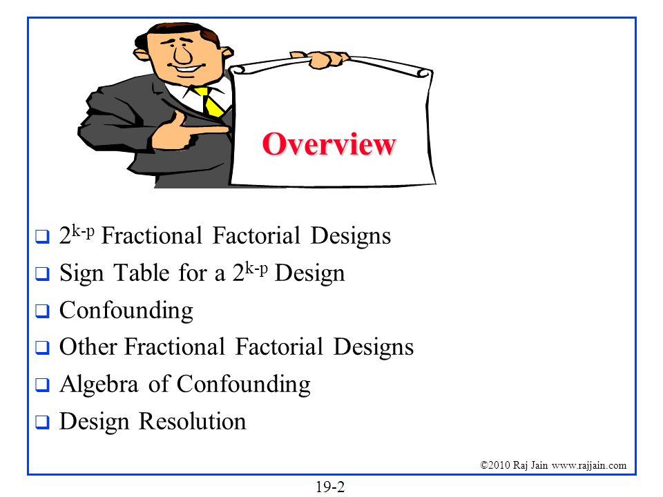 Overview 2k-p Fractional Factorial Designs