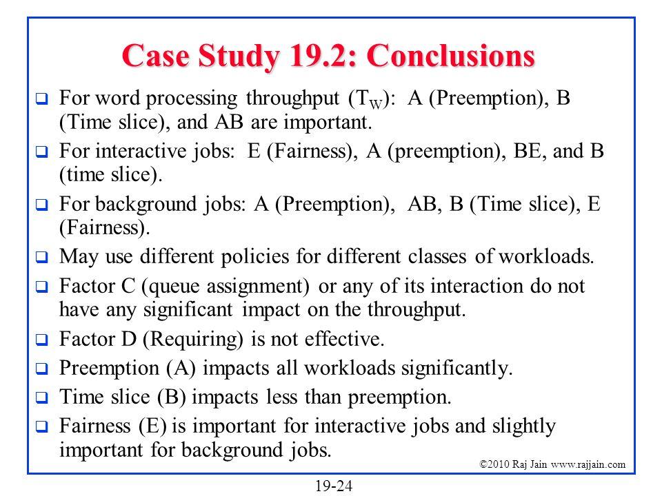 Case Study 19.2: Conclusions