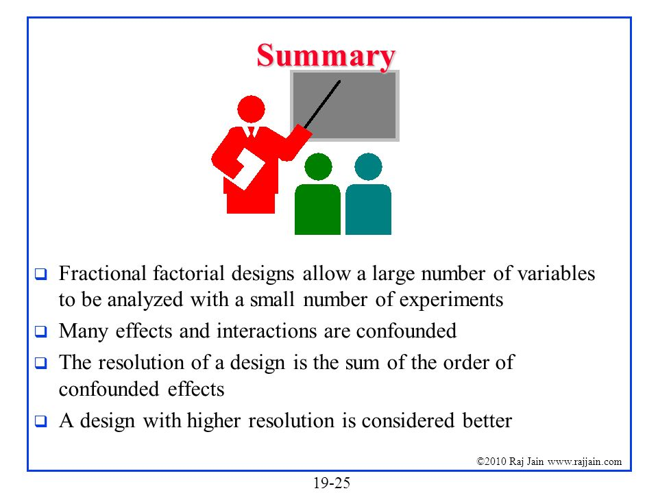 Summary Fractional factorial designs allow a large number of variables to be analyzed with a small number of experiments.