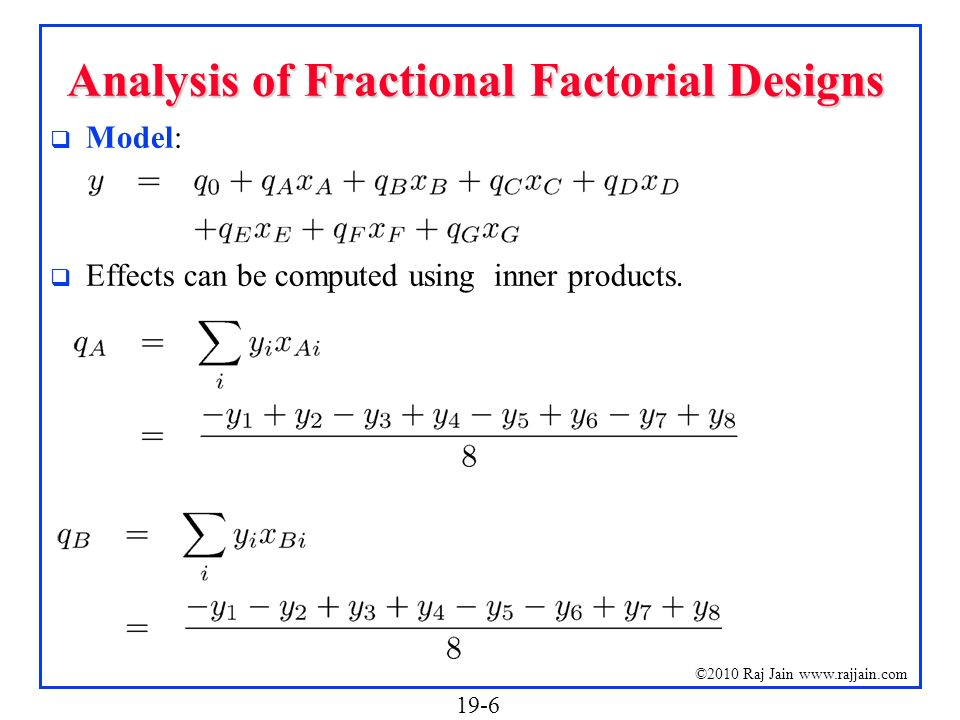 Analysis of Fractional Factorial Designs
