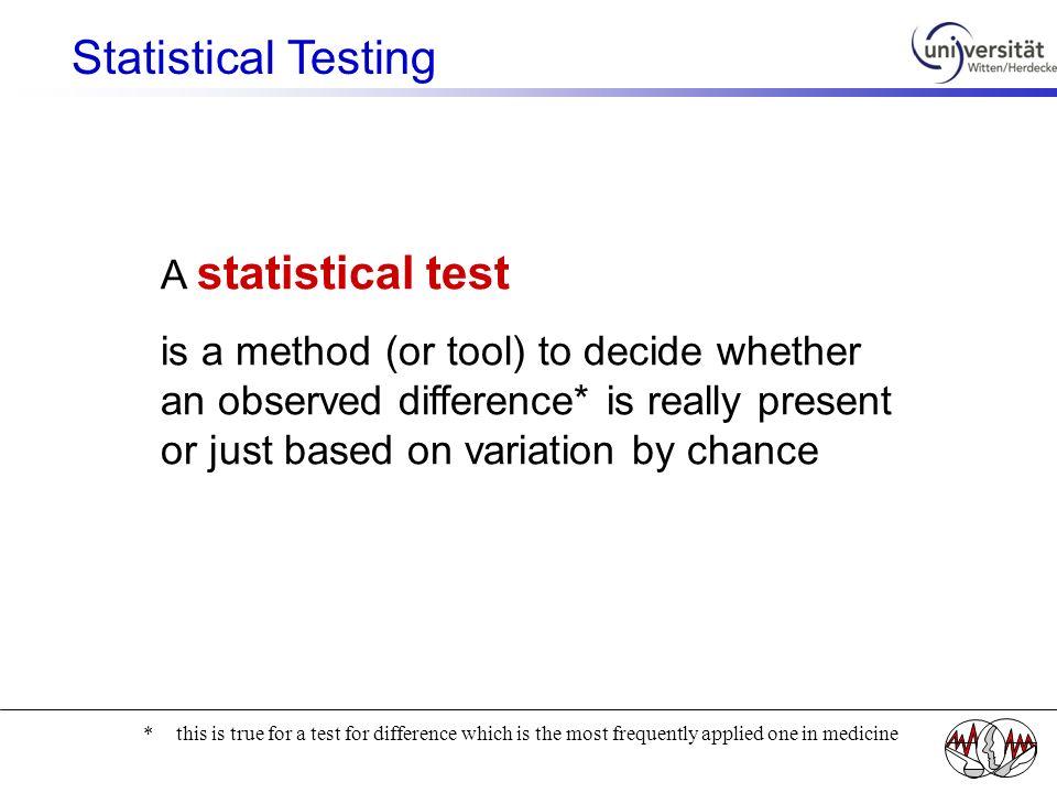 Statistical Testing A statistical test