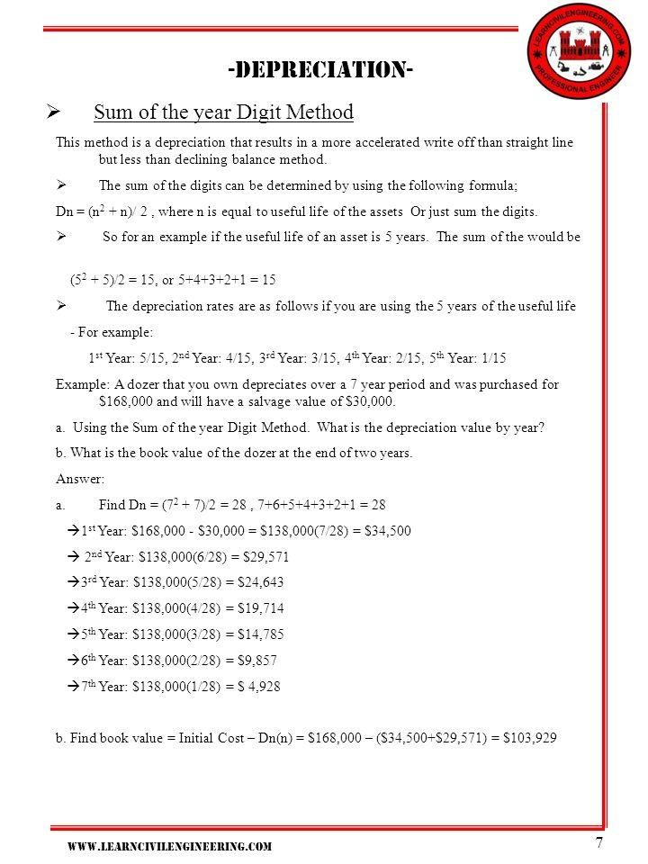 Depreciation- Sum of the year Digit Method
