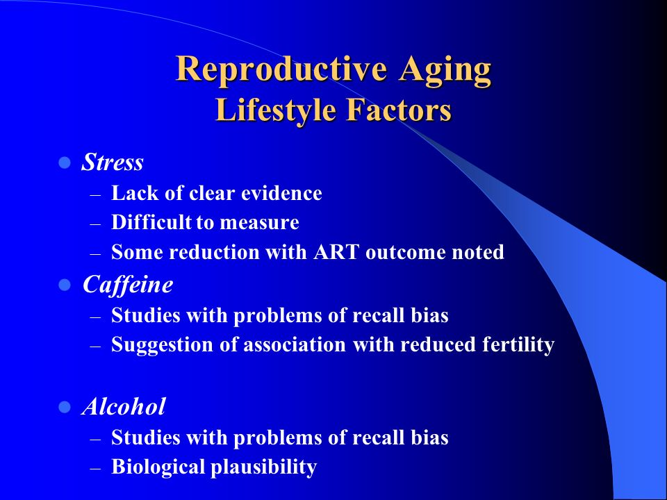 Reproductive Aging Lifestyle Factors