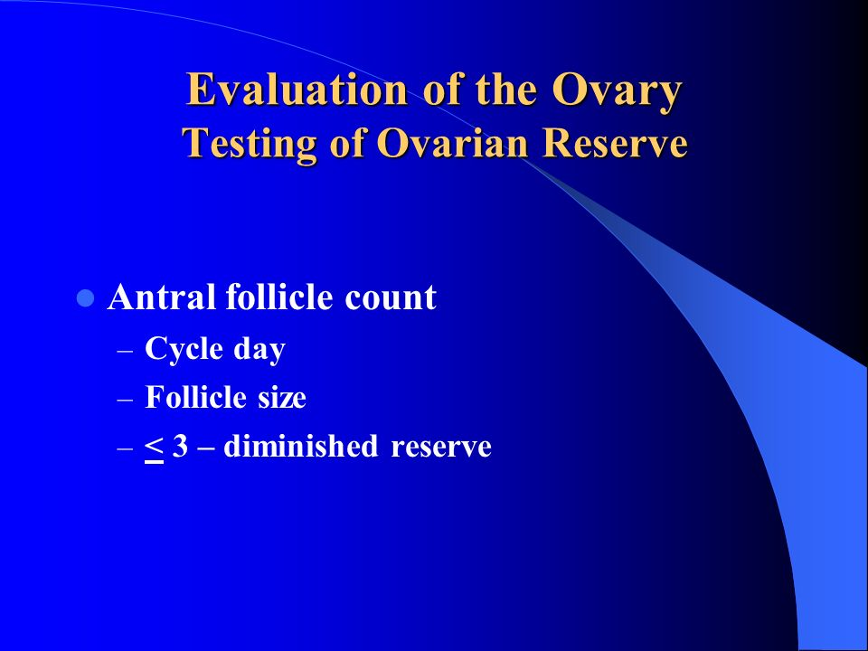 Evaluation of the Ovary Testing of Ovarian Reserve