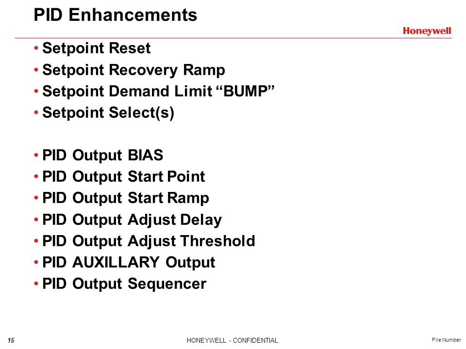 PID Enhancements Setpoint Reset Setpoint Recovery Ramp