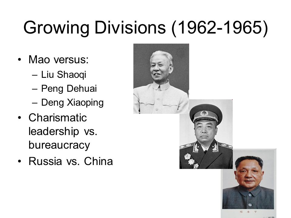 Growing Divisions (1962-1965) Mao versus:
