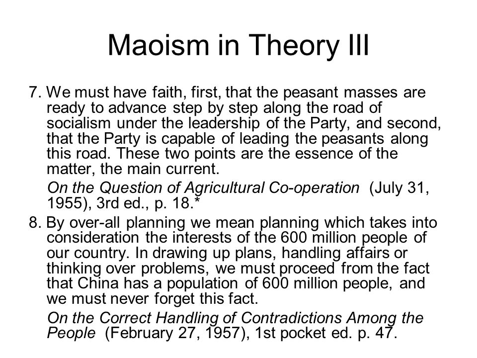 Maoism in Theory III