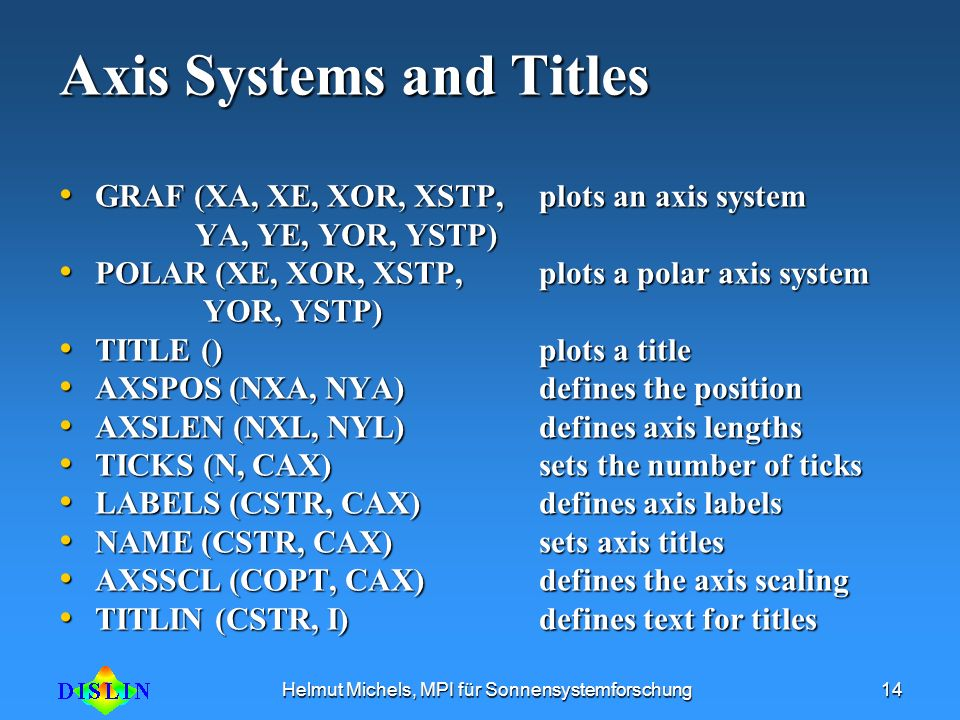 Axis Systems and Titles