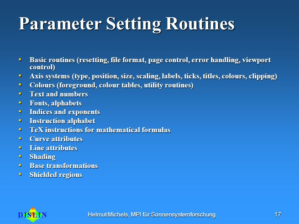 Parameter Setting Routines