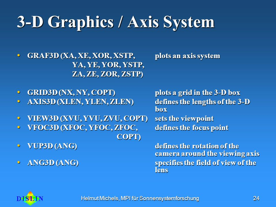 3-D Graphics / Axis System