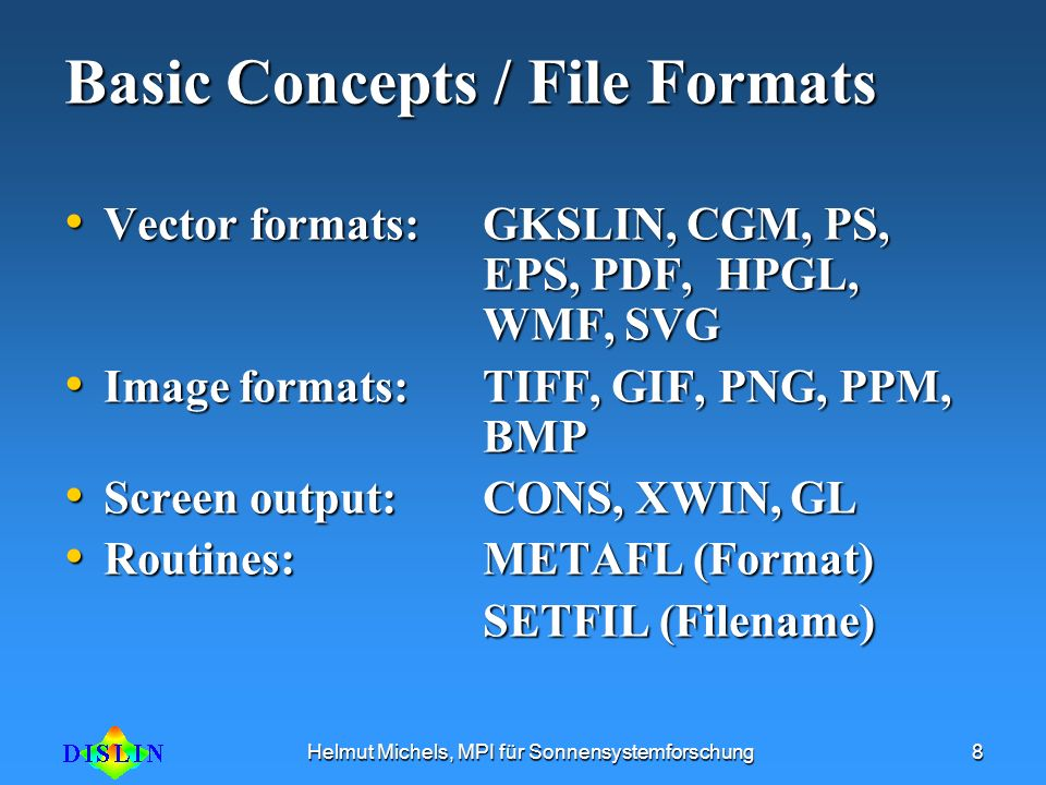 Basic Concepts / File Formats