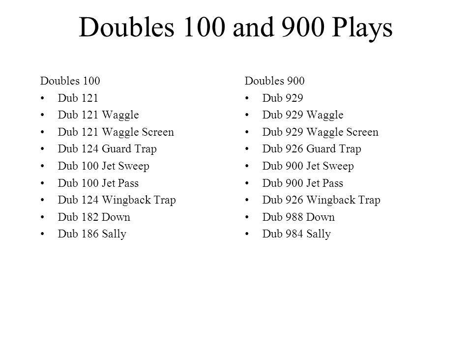 Doubles 100 and 900 Plays Doubles 100 Dub 121 Dub 121 Waggle