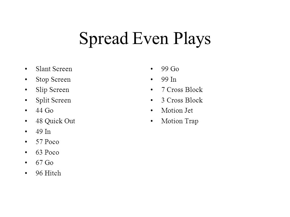 Spread Even Plays Slant Screen Stop Screen Slip Screen Split Screen