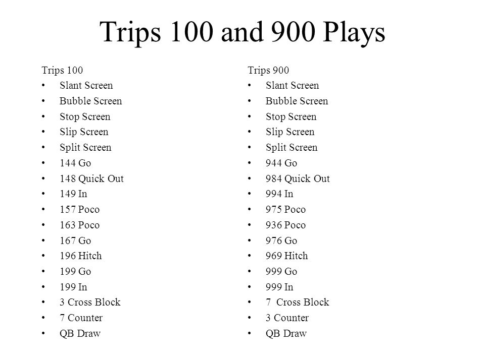 Trips 100 and 900 Plays Trips 100 Slant Screen Bubble Screen