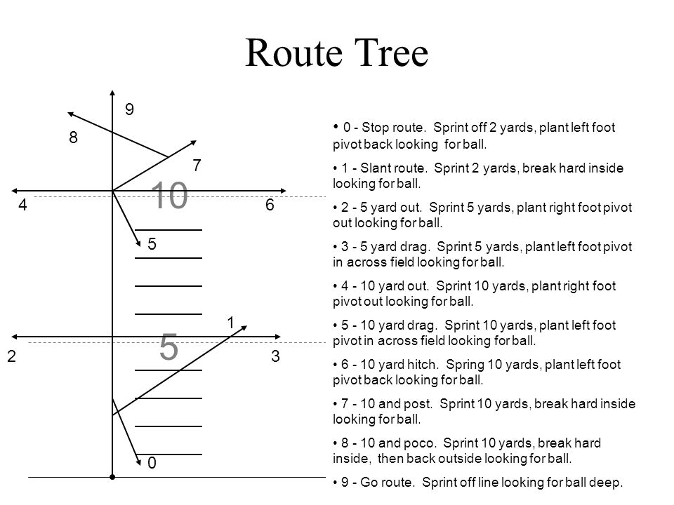 Route Tree 9. 0 - Stop route. Sprint off 2 yards, plant left foot pivot back looking for ball.