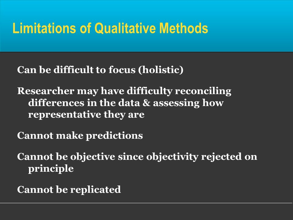 Limitations of Qualitative Methods