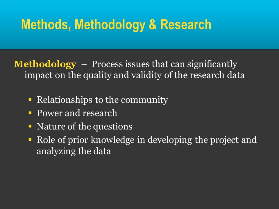 Methods, Methodology & Research