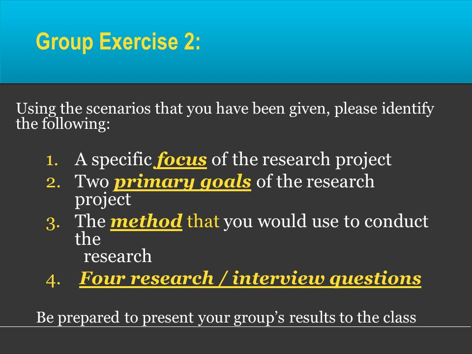 Be prepared to present your group's results to the class