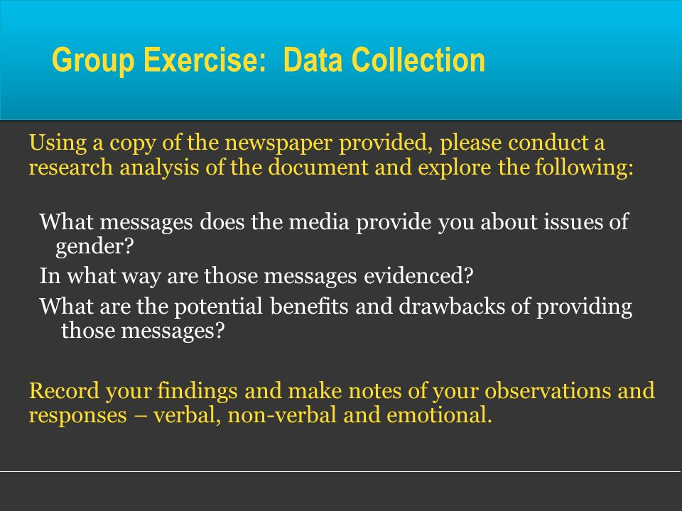 Group Exercise: Data Collection